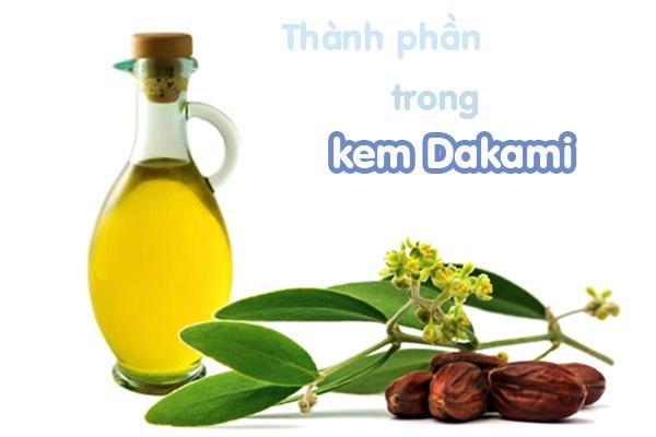 Thành phần trong kem dưỡng Dakami
