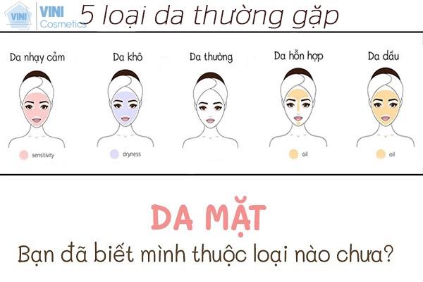 5 loại da mặt thường gặp