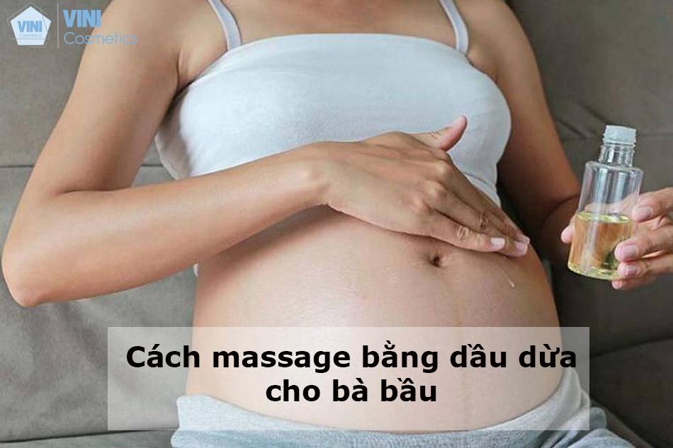 Cách massage bằng dầu dừa cho bà bầu