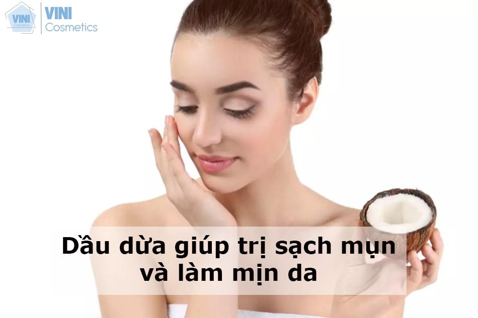 Dầu dừa giúp trị sạch mụn và làm mịn da