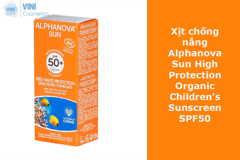 Xịt chống nắng Alphanova Sun High Protection Organic Children's Sunscreen SPF50
