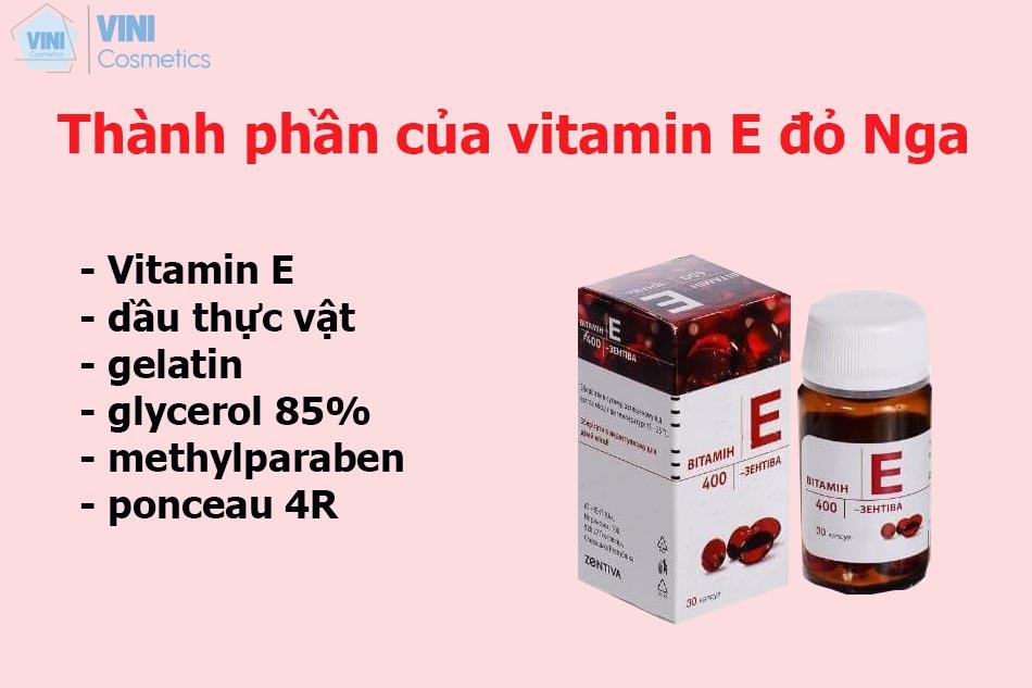 Thành phần của Vitamin E đỏ Nga
